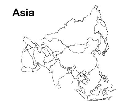 Printable Asia Map for Kids