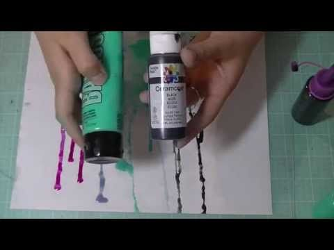 ▶ How To Make Your Own High Flow Acrylic Inks!! *Tutorial* - YouTube.  Mix 1 part acrylic paint with apx 1 to 2 parts Golden Airbrush Medium.
