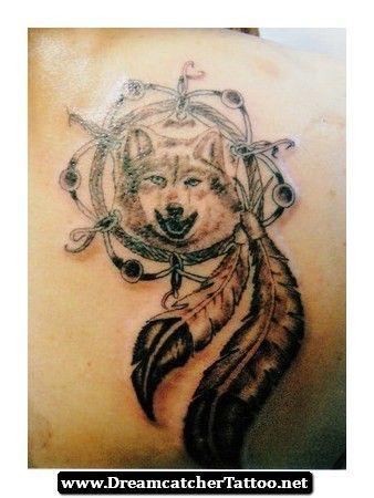 Indian Wolf Dreamcatcher Tattoo 09 - http://dreamcatchertattoo.net/indian-wolf-dreamcatcher-tattoo-09/