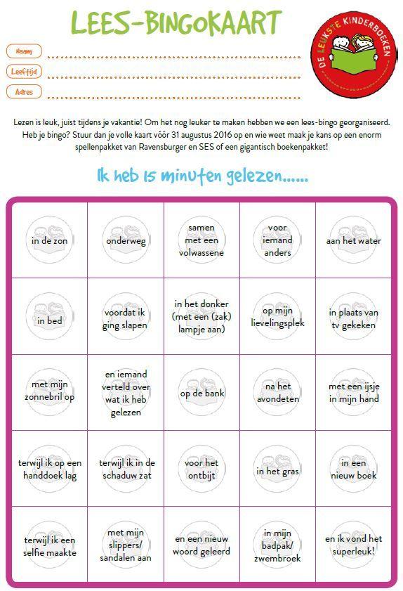 Lezen is leuk, juist tijdens je vakantie! Om het nog leuker te maken hebben we een lees-bingo georganiseerd. Heb je bingo? Stuur dan je volle kaart vóór 31 augustus 2016 op en wie weet maak je kans op een enorm spellenpakket van Ravensburger en SES of een gigantisch boekenpakket!