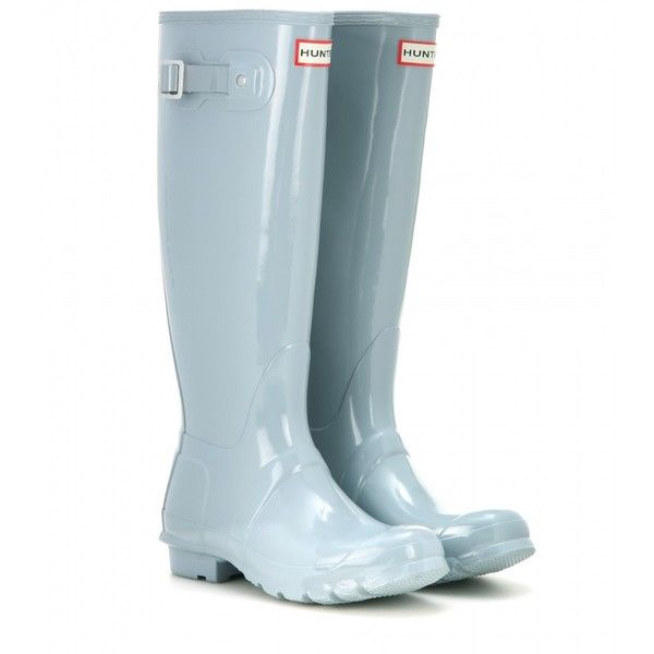 Hunter Original Tall Wellington Boots (205 CAD) ❤ liked on Polyvore featuring shoes, boots, blue, blue knee high boots, tall boots, blue boots, rubber boots and tall rain boots