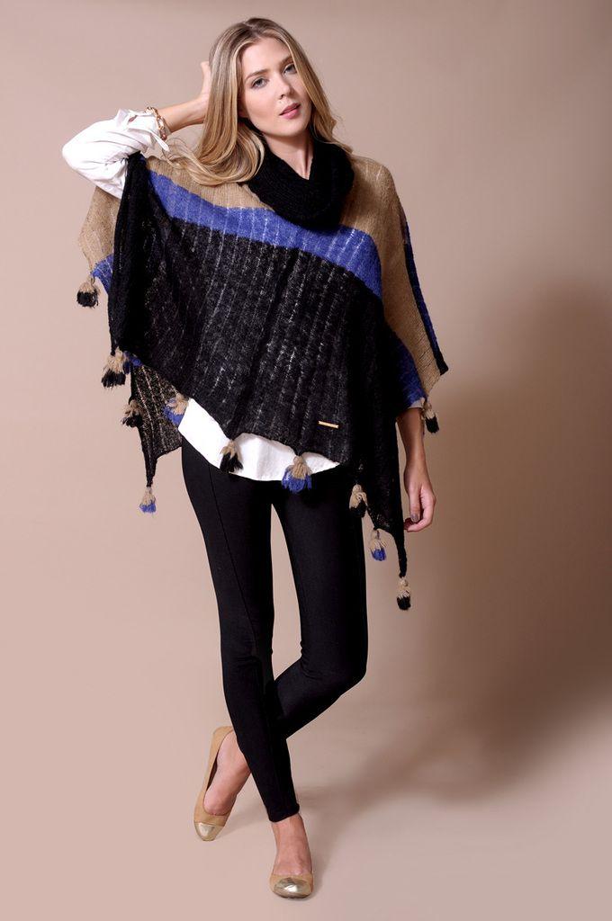 * Sweater Poncho Rayado Finlandia Art 1703