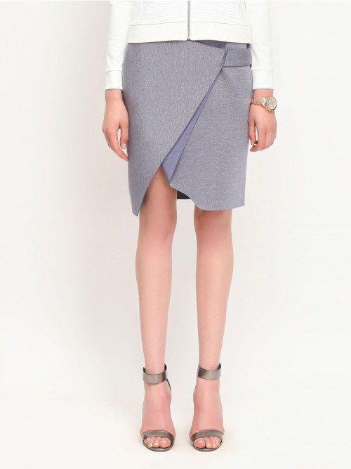 Pencil ασύμμετρη φούστα κρουαζέ