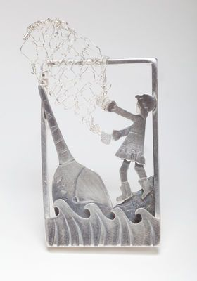 Becky Crow - netting a narwhal Illustrative jewellery/ dec arts