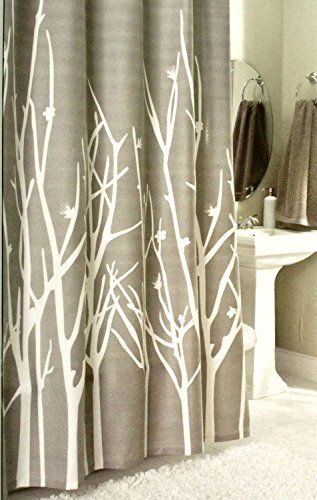 Botanical Nature 100% Cotton Shower Curtain Floral Branches Design Cherry  Blossom Grey White Gray 72
