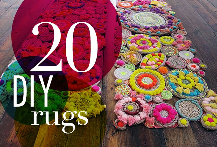 20 DIY Rugs to Brighten Up Your Space | Brit + Co.-- probably never gonna do any of these but they're really cool ideas!