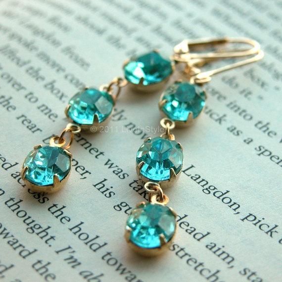 Vintage Aquamarine Ear Candy