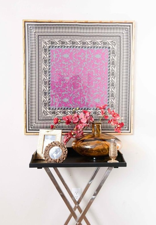 framed scarve- I want to do this in front of a bar cart