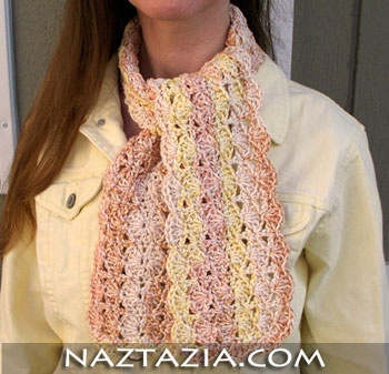 Crochet shell scarf