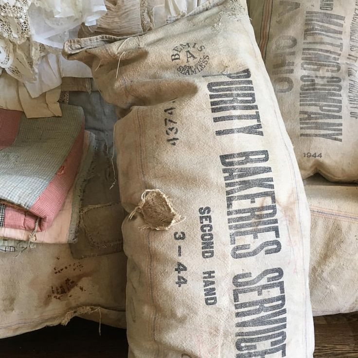 """69 Likes, 3 Comments - Christina (@rusticthrift) on Instagram: """"Just listed a bunch of old vintage grain sack pillows that are full of character! Check them out in…"""""""
