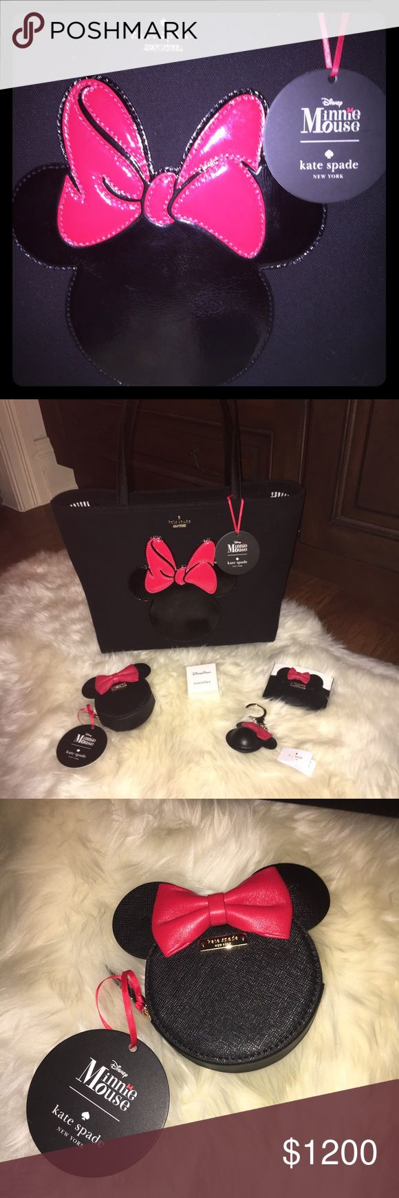 Kate Spade ♠️ Disney Curated Collection W/Pandora ✨Price Break! Save $50! ✨It's here! All Authentic and Exclusively for you!✨Kate Spade, Pandora and Disney collaboration Authentic and Exclusively Curated for you, by me! Limited in stores and only available for purchase in person within Disney! All of these items are kept under lock and key. I hand selected these items different locations within Disney World. There is an added surprise...An adorable bow on the bottom of the tote!🎀See photo…