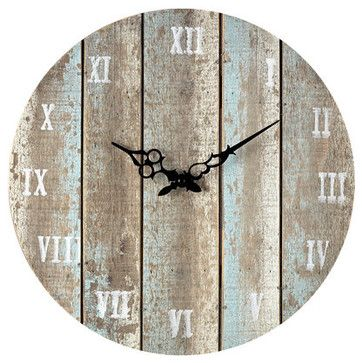 """Sterling Industries 128-1009 16"""" Height Wooden Roman Numeral Outdoor Wall Clock transitional-outdoor-clocks"""