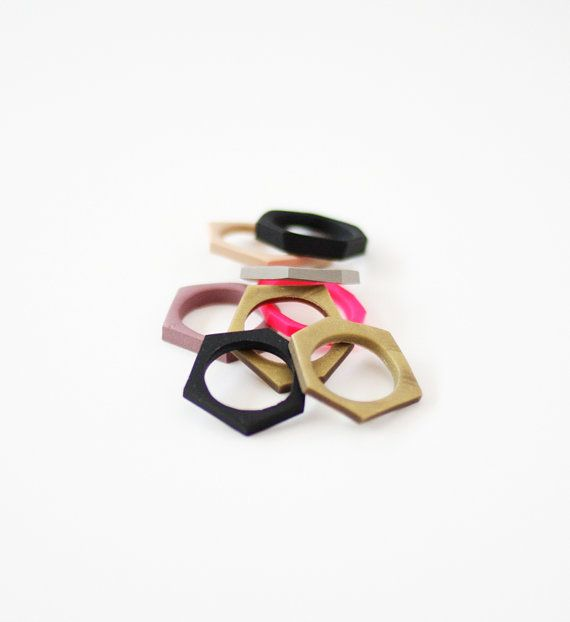Hand cut geometric stacking ring in neon pink. $12.99, via etsy.