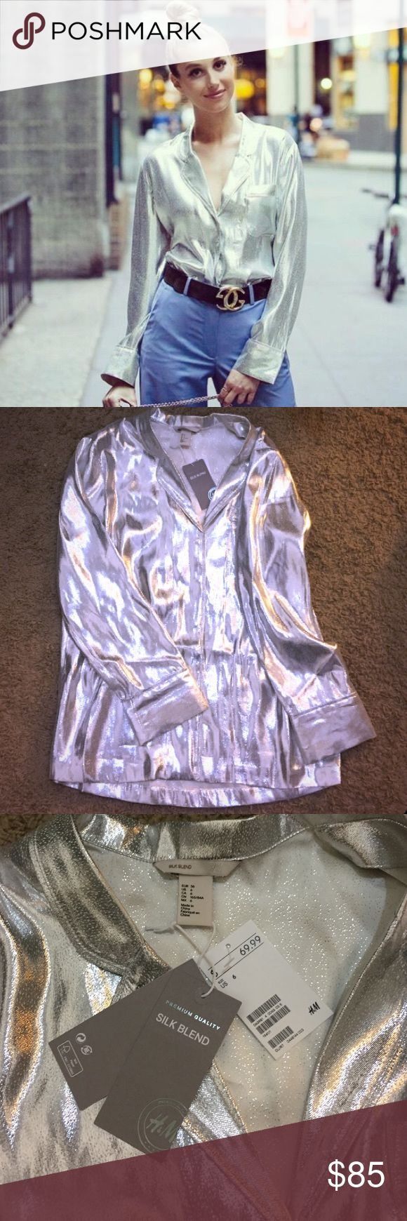 NWT H&M Premium Silk Blend Metallic Blouse As seen on Whitney Port! Gorgeous collared silver button-up blouse from H&M's premium quality line. Silk blend. No longer in stores, sold out!! Size 6, oversized fit compared to H&M's normal sizing. New with tags. Perfect for the holidays! H&M Tops Blouses