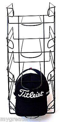 4 Tier Baseball Golf Cap Hat Wire Display Rack Stand, Holder, Organizer - Black