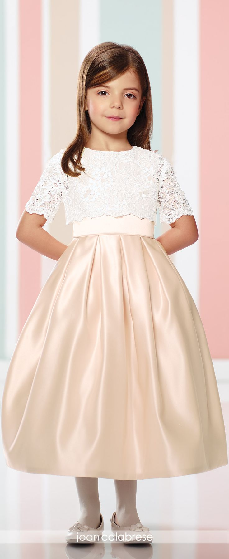 Joan Calabrese for Mon Cheri - Fall 2016 - Style No. 216301 - satin and lace two piece flower girl dress