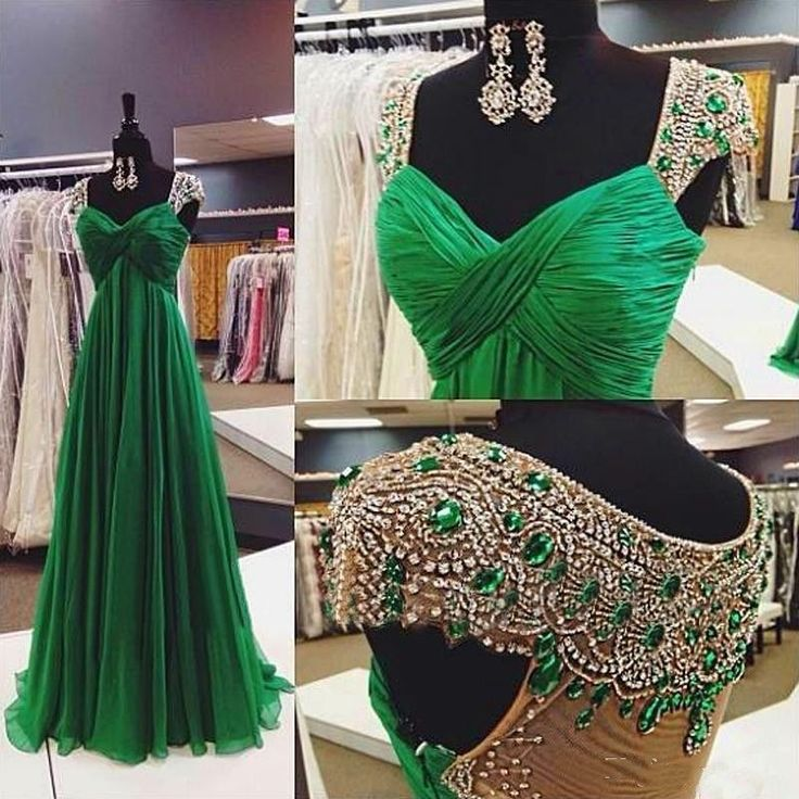 Emerald Green Crystal Cap Sleeves Chiffon Long Evening Dress Formal Prom Dresses in Clothing, Shoes & Accessories | eBay