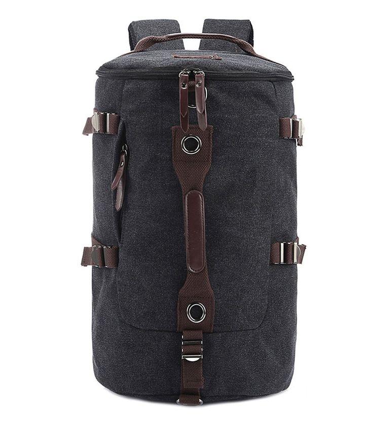 www.facebook.com/hzkenuo Berchirly Casual Men Canvas Backpack Rucksack Bucket Hiking Bag for Travelling Gym Outdoor Activities