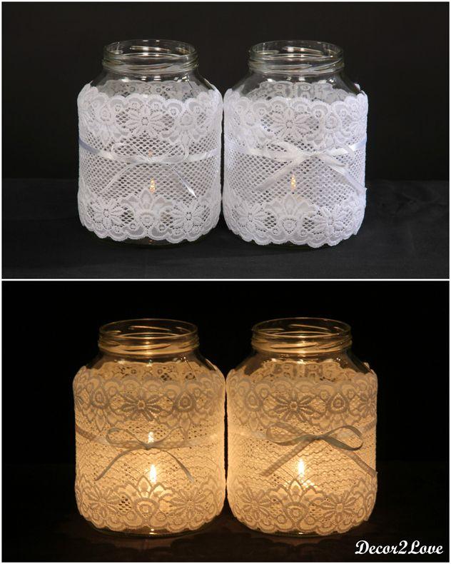 Vintage wedding decoration- lace candleholder-  Vintage svadobné dekorácie- čipkované svietniky