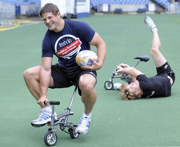 Scotland Rugby players..., Ross Ford still on the wee bike and probably David Denton on his back.