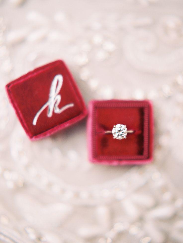 solitaire engagement ring red velvet monogrammed ring box | Photography: Kristin...