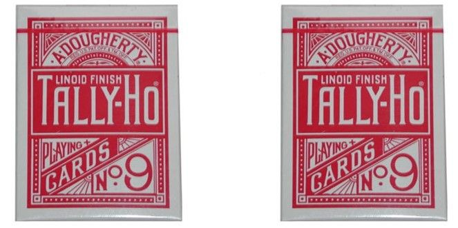 Tally-Ho Fan Back (Red) Playing Cards 2-Pack Set by Bicycle