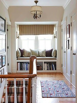 Upstairs hallway idea... bench with books under the seats (ikea bookshelves on the side)