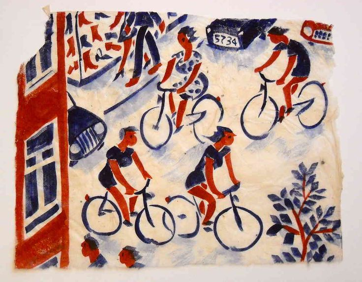 Painting, cyclists