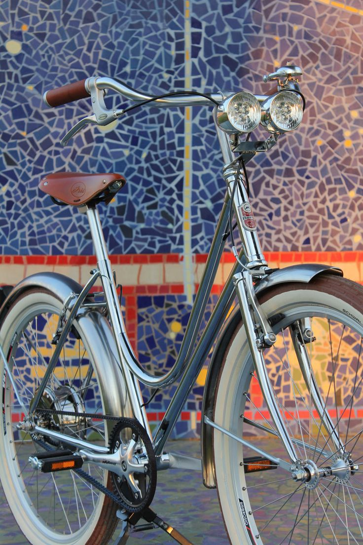 Our totally chromed bike out and about in Milan.