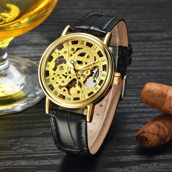 MCE Skeleton Leather Band Automatic Mechanical Analog Wrist Watch - Golden + Black