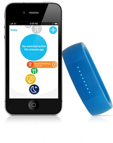 LarkLife, a wristband that connects to your iPhone through Bluetooth. An application