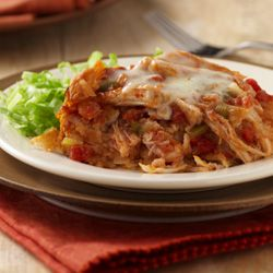 Slow Cooker Chicken Enchiladas... Layers of corn tortillas, spicy tomato sauce and chicken filling slow-cooked for a unique twist on your average enchilada