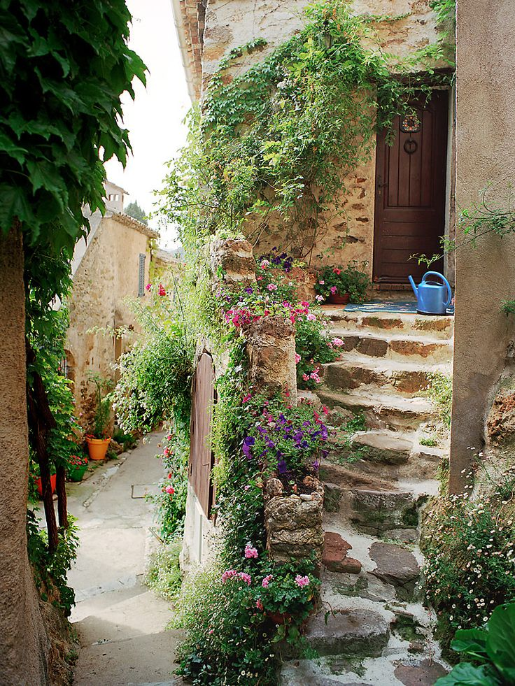 Provence Stairs- Provence, FranceCourtyards Gardens, Stones Step, Hidden Doors,  Terraces, Old World Charms, Places, Gardens Stairs, Front Step, Provence France