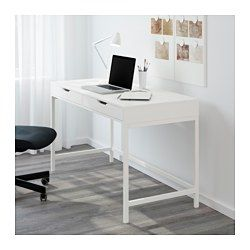 IKEA - ALEX, Desk, white, , Built-in cable management for collecting cables and cords out of sight but close at hand.Drawer stops prevent the drawers from being pulled out too far.Can be placed anywhere in the room because the back is finished.