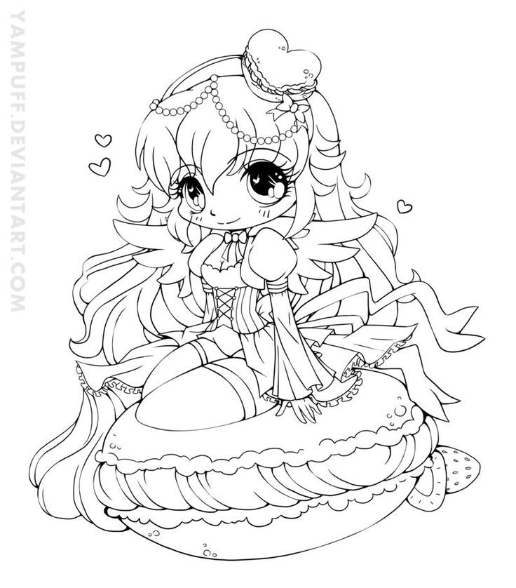 Coloring Pages For Girls: YamPuff Food Chibi Girls Coloring Pages