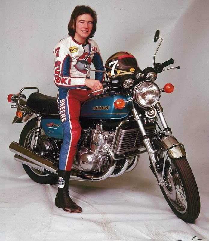 Barry Sheene on an adorable Suzuki GT750 when he was the no1 rider in the Suzuki GB team.