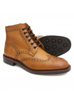 Loake Burford Tan Calf Brogue Boot with Dainite Rubber Sole