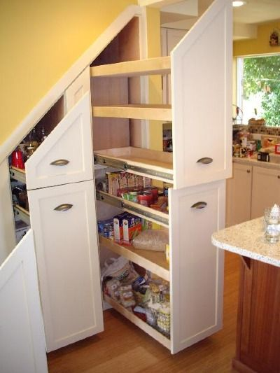 easy access storage under the stairs kitchen - Under Stairs Kitchen Storage