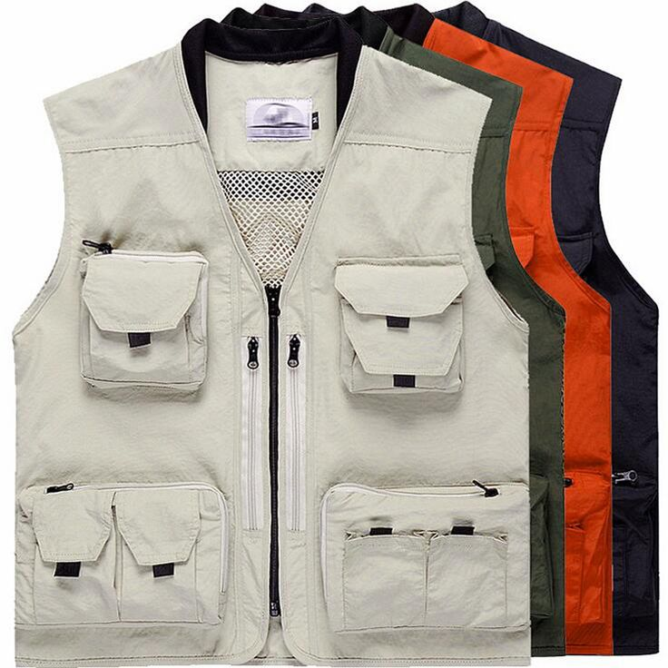 Multi-Pocket Mesh Fishing Vest Outdoor Photography Waistcoat Customizable Team Clothes Hunting Hiking Jacket chaleco de pesca