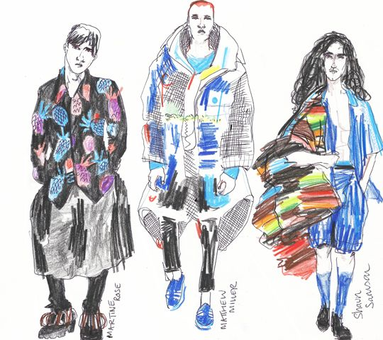 MAN Up: Fashion East's new menswear designers scaled up proportion, colour and print. Martine Rose (left), Matthew Miller (center), Shaun Samson (right).
