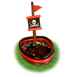 The Inflatable Pirate Ship stirs children to expand their pirate fantasy play as they can walk the plank onto the Pirate Ship. Children can express their imaginations as they run wild on the high seas. Includes 50 plastic balls, which can be used in the ball pit. Great for indoor or outdoor play. The company provides a wide assortment of fun and colorful inflatable and easy to assemble play structures.