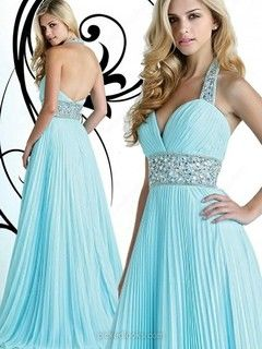 Chiffon Halter Floor-length A-line Ruched Ball Dresses -NZD$163.69