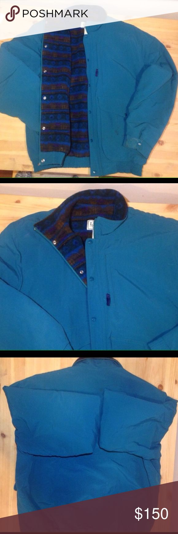 Men's winter coat size large LL Bean Men's coat size large fleece lined winter coat by LL Bean teal blue w THINSULATED lining. No rips-- no longer available online. Great for even negative temps! L.L. Bean Jackets & Coats Ski & Snowboard