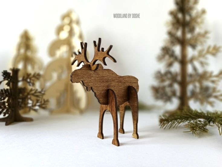 Perfect 3D laser cut Moose / Wood moose / Woodland moose / Moose figurine / Woodland animals / Woodland forest / Forest animals / 3d moose by DosheEcoDecorCharms on Etsy