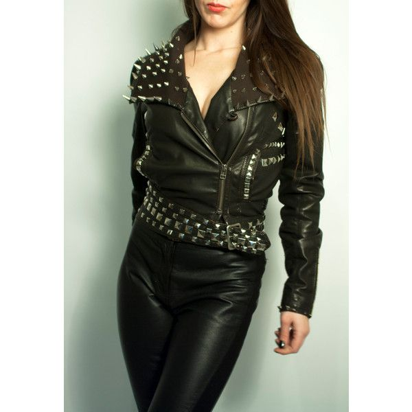 Judas Christ Crucifix cross Leather Biker Jacket, heavy stud work... ($273) ❤ liked on Polyvore featuring outerwear, jackets, leather motorcycle jacket, studded moto jacket, punk studded jacket, spiked leather jacket and leather moto jackets