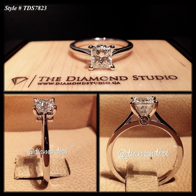 """""""There so many different ways to make a diamond appear larger then what it is. One of the ways is to thin out the shank, making the centre pop more. That's exactly what I did with this beauty. The centre was done with a .70ct princess cut diamond. The diamond sits on my signature v-shaped floating head. To personalize it I added a small diamond at the end of the prong."""""""