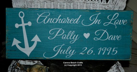Wedding Sign  Beach Wedding  Emerald  Green Anniversary Gift Bridal Shower Wedding Décor Anchor Nautical Hand Painted Wood Sign by CarovaBeachCrafts on Etsy