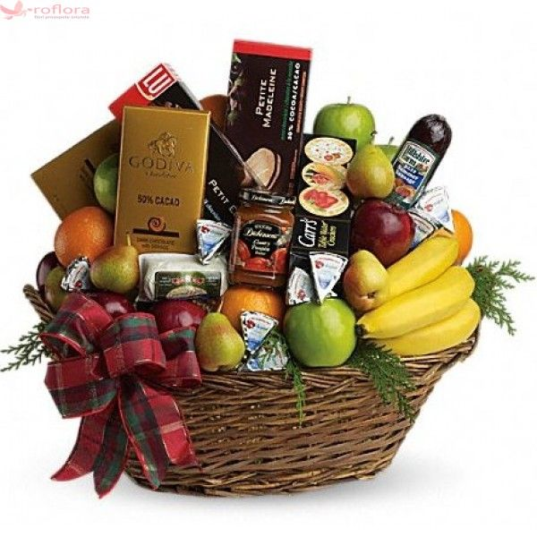 Rafinat - Cos gourmet cu fructe, ciocolata, salam, branzeturi