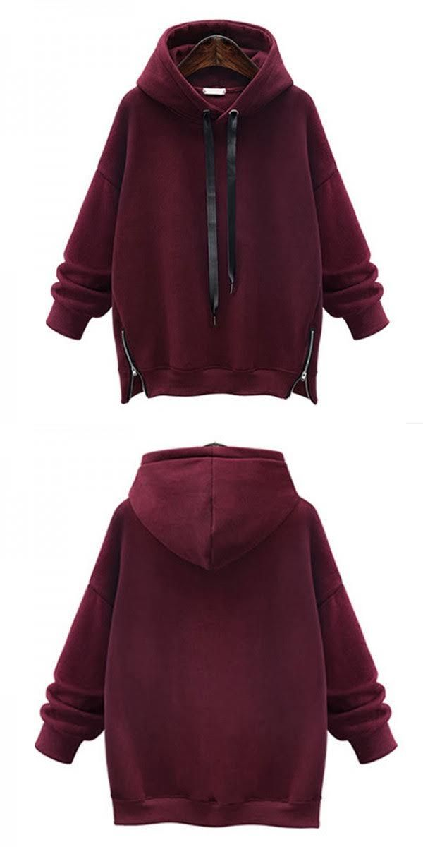 6e4a40d6c fashion burgundy colour hoodie, cool girl drop shoulder outfits, oversized  spring tops for women