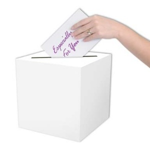 Receiving Box Plain. 9 inch x 9 inch All Purpose Receiving Box is a plain white cardboard. This box can be decorated for any occasion or theme, such as wedding, bridal shower, anniversary, retirement, baby shower as well as many others. this is an inexpensive way to have a money box for gift envelopes for your party or special event